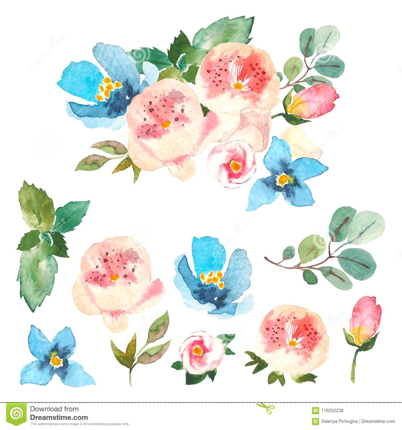spring summer floral collection with flowers and beautiful bouquet pink roses and blue flowers eucaliptus