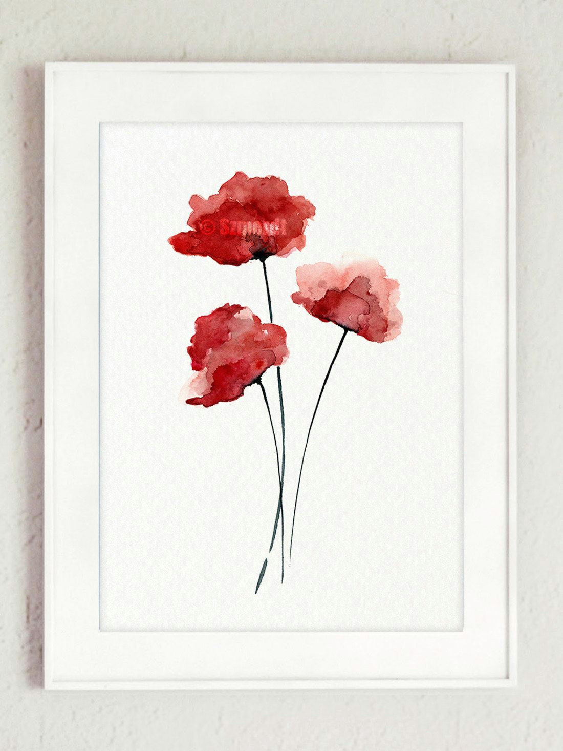 red poppy watercolor painting gifts for her watercolor home decor floral poster abstract poppy art print by colorwatercolor on etsy