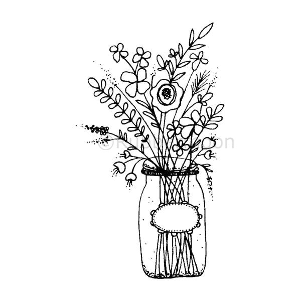 mason jar flowers large lo5261h rubber art stamp
