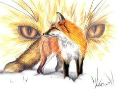 red fox drawing red fox drawing red fox fine art print fox spirit