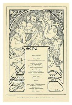 1895 french menu sarah bernhardt dinner design by alphonse mucha who wrote in