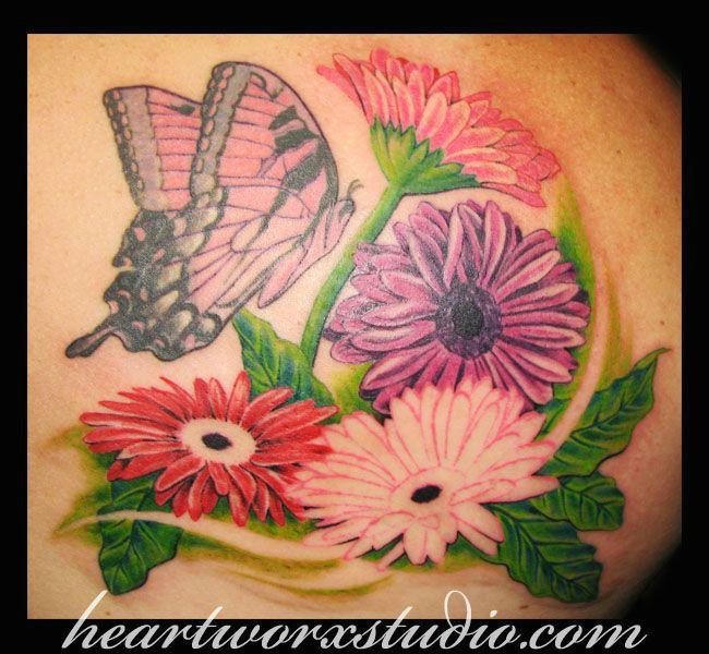 gerbera daisy tattoo designs gerbera daisy n butterfly tattoo image tattoos pinterest tattoos gerbera daisy tattoo and butterfly tattoos images