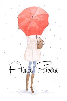 art print in the rain rain drop art by illustrationsbyaimee 25 00 walking in the rain
