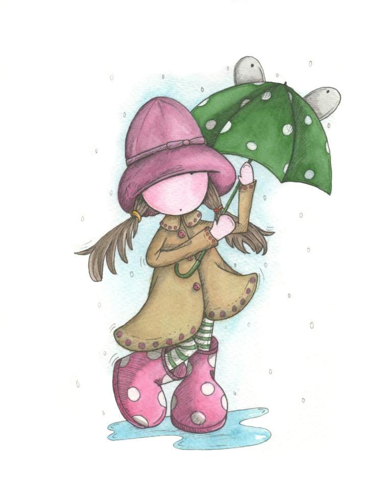 quenalbertini cute little girl with green umbrella