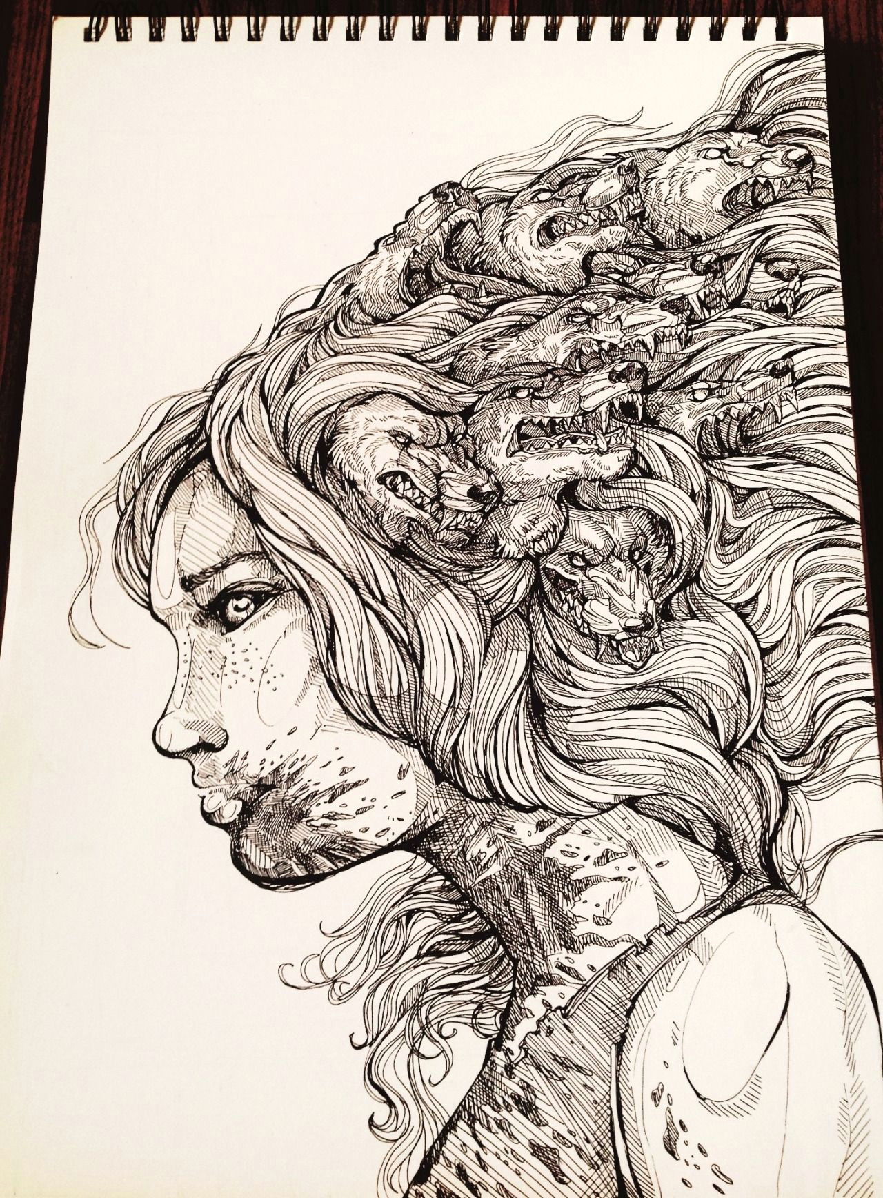 a wolf in the shape of a girl awake an a3 piece for my fall of redd book