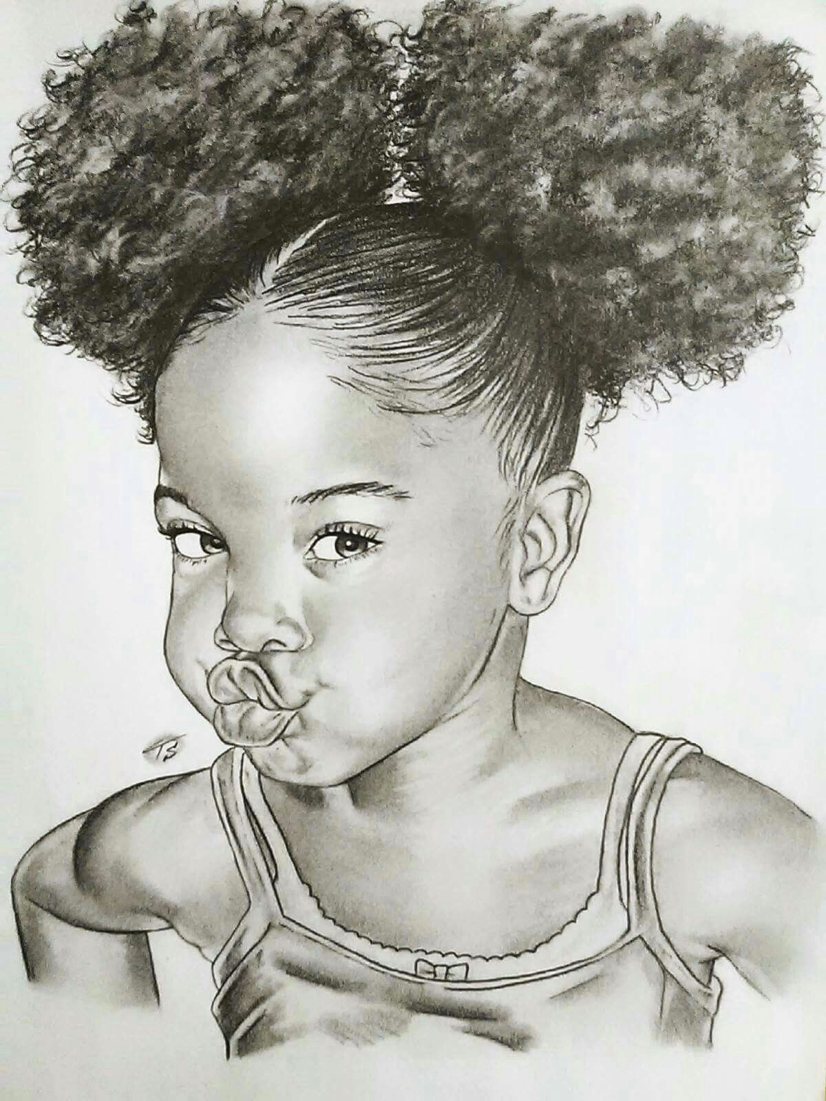 black baby girl image shetced monochrome
