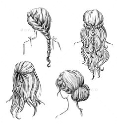 set of different hairstyles vector eps cs back view black and white