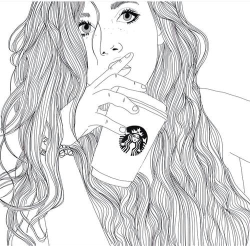 Drawing Of Girl Black and White Art Black White Drawing Girl Outlines Starbucks Image I
