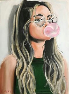 maria folger bubble gum acrylic portrait painting acrylic painting canvas portrait art canvas