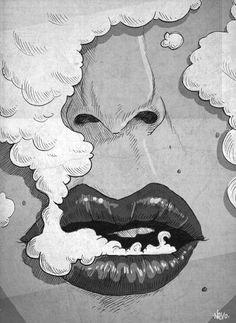 gif skate red girl trippy drugs weed marijuana smoke cannabis lsd cartoon indie pot grunge drug acid psychedelic lips trip smoking pin up lipstick tripping