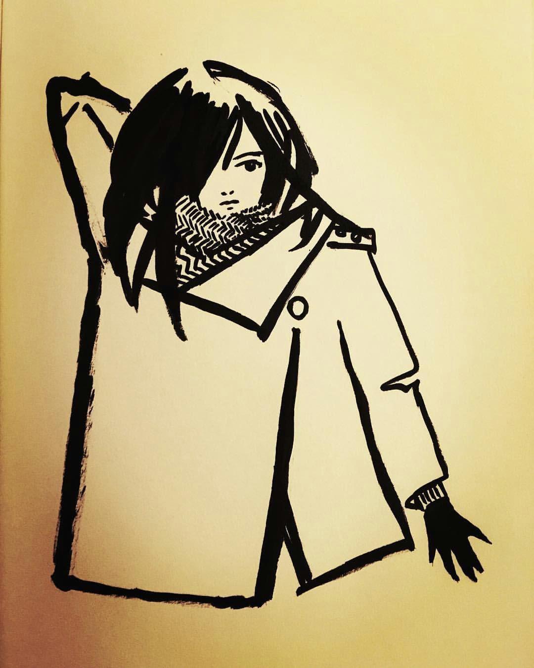ashya lane spollen reaching for a sword ink and brush pen badass