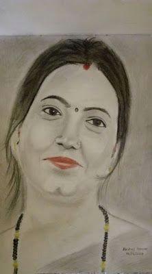 dr jyoti kumari bhagalpur color pencil drawing of indian woman by artist akshay kumar 373