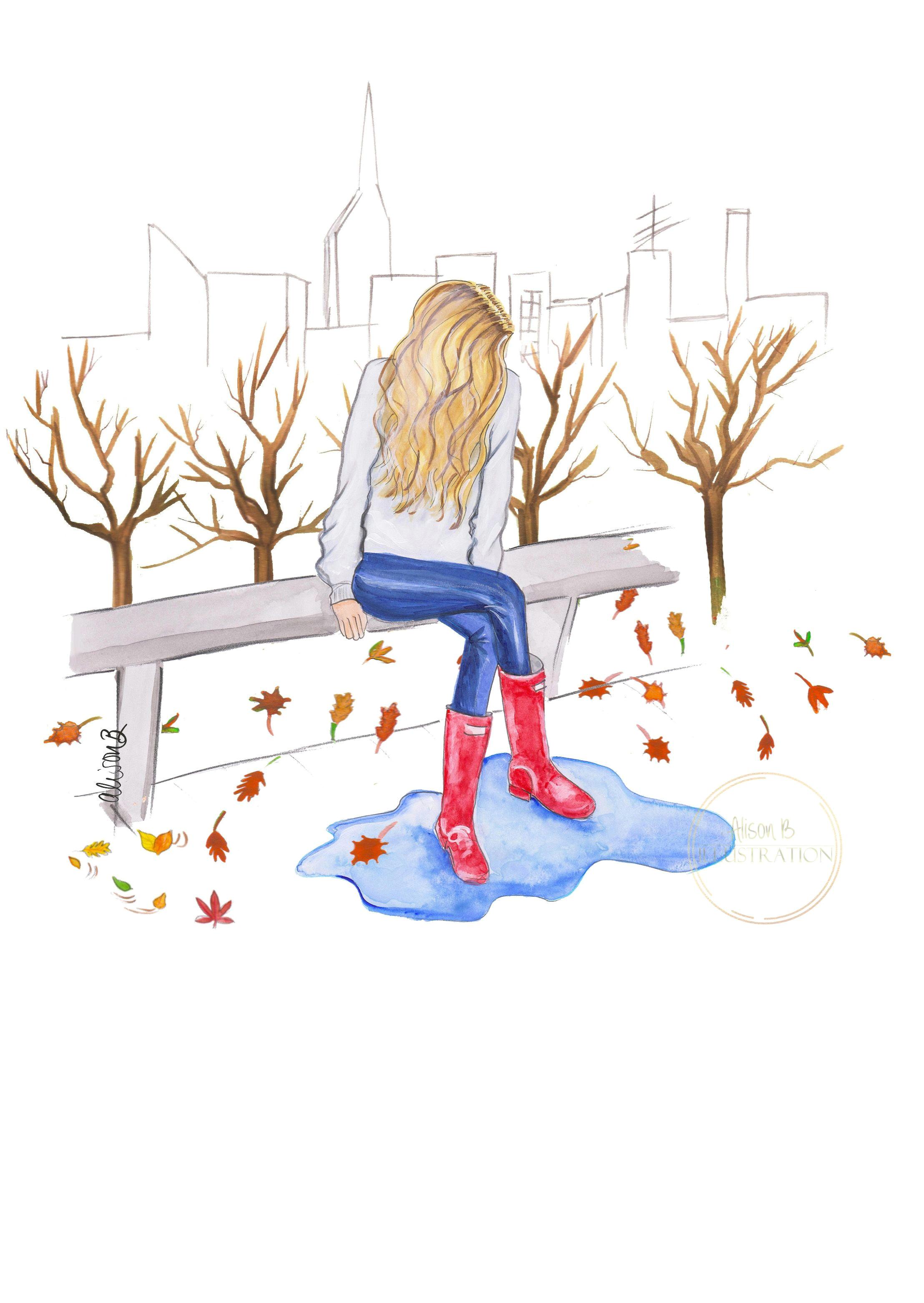 fashionillustration fallillustration autumnleaves fallwallart rainydayart thanksgivingdecor puddle redwellingtonboots fashionsketchprint