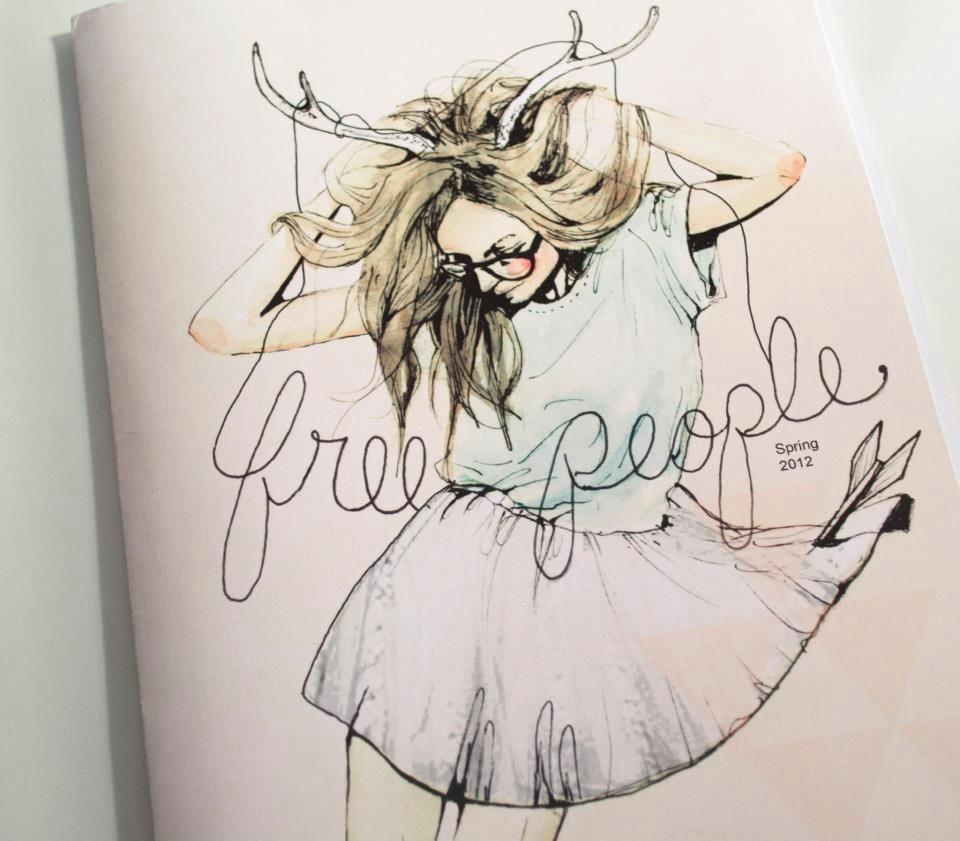 art deer drawing fashion fashion illustration free people girl glasses illustration magazine painting skirt spring