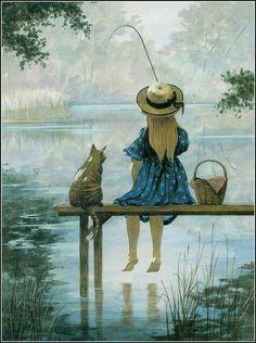 girl fishing cat fishing artwork paintings children s book illustration book illustrations