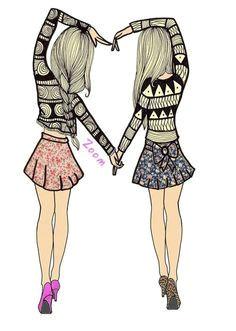 bff drawing best friend drawings drawing art best friends cute cartoon