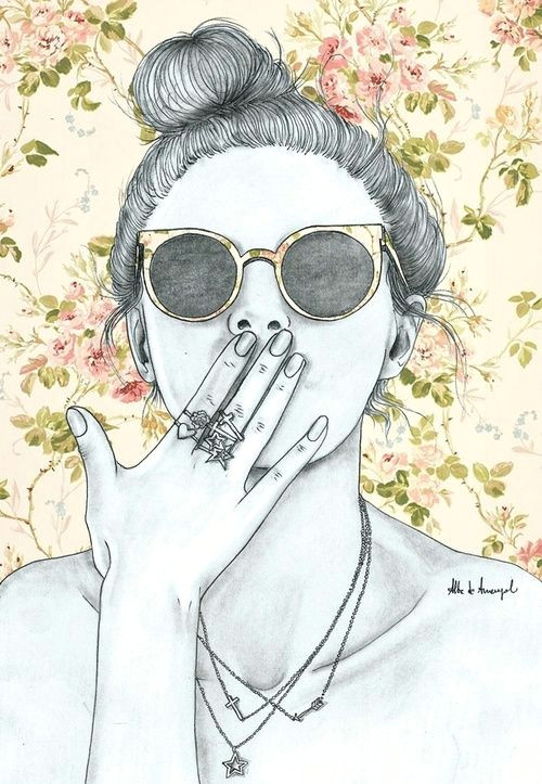 alba de armengol fashion girl illustration floral print behind sketches