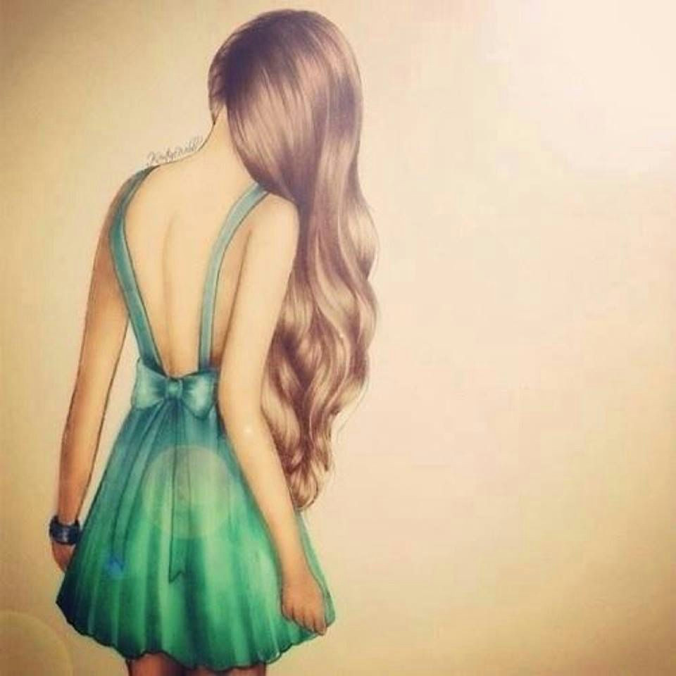brown haired girls back with mint dress