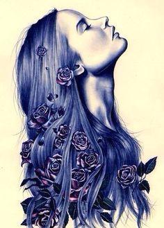 girl with long purple hair purple roses in hair art beautiful drawings of flowers