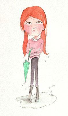 items similar to rain girl original art illustration on etsy