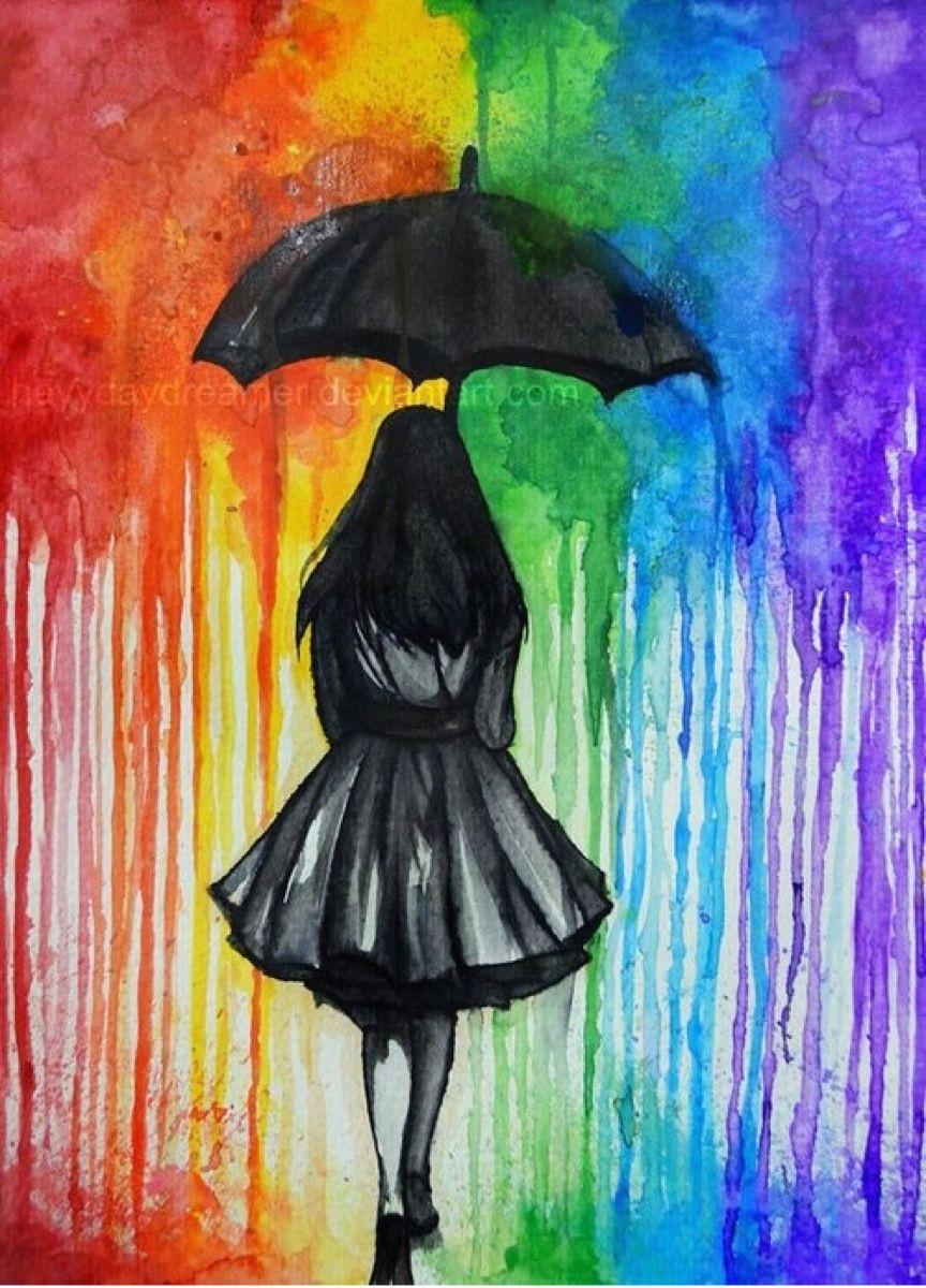 girl with umbrella painting walk away