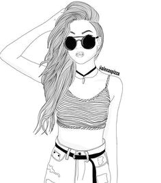 black white draw drawing face girl outline outlines