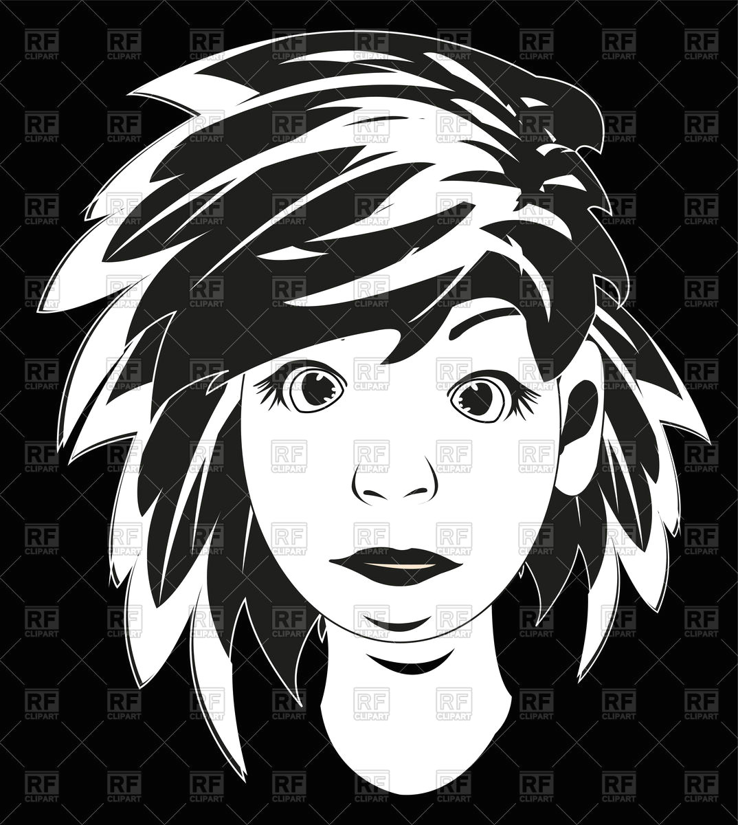 black white drawing girl vector image vector illustration of people a c cobol1964 170791 click to zoom
