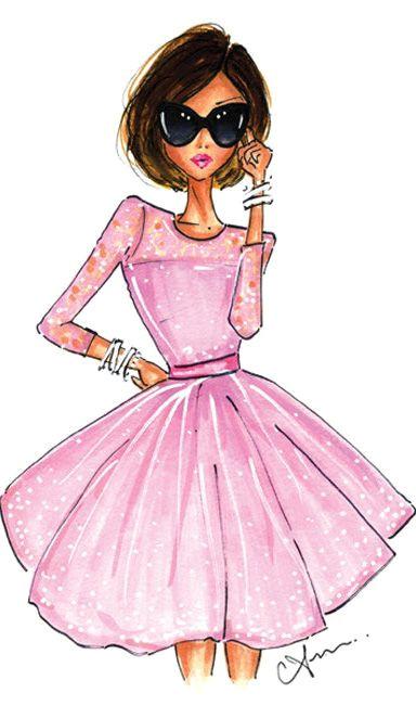 fashion illustration the pink dress print by anum tariq