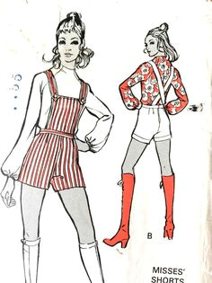 60s misses shorts with bib top and blouse mccall s 35p vintage sewing pattern hip 34 5