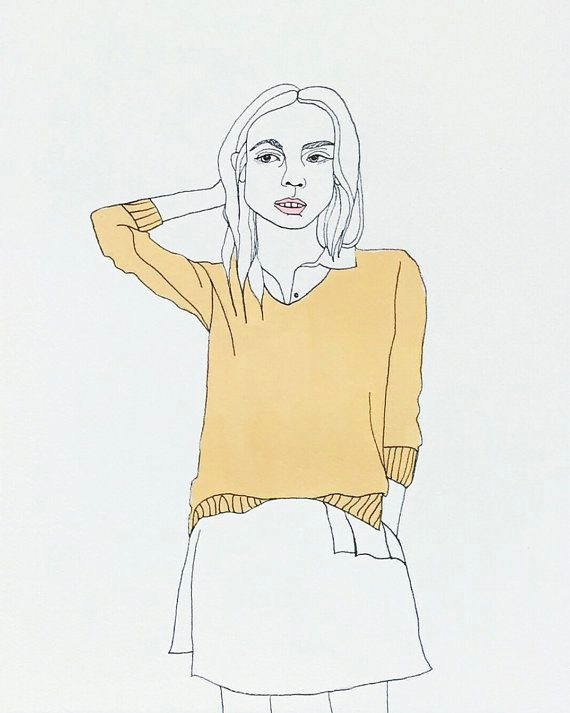 fashion drawing acrylic ink illustration portrait of woman yellow sweater chic white modern art 8 5 x 11
