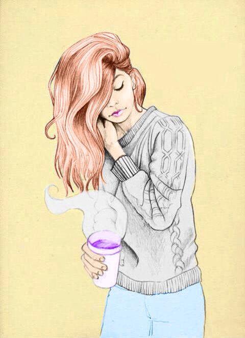 girl coffee sweater gray yellow blue amazing drawings cool drawings