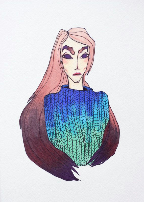 girl in a knitted pullover art print fashion illustration