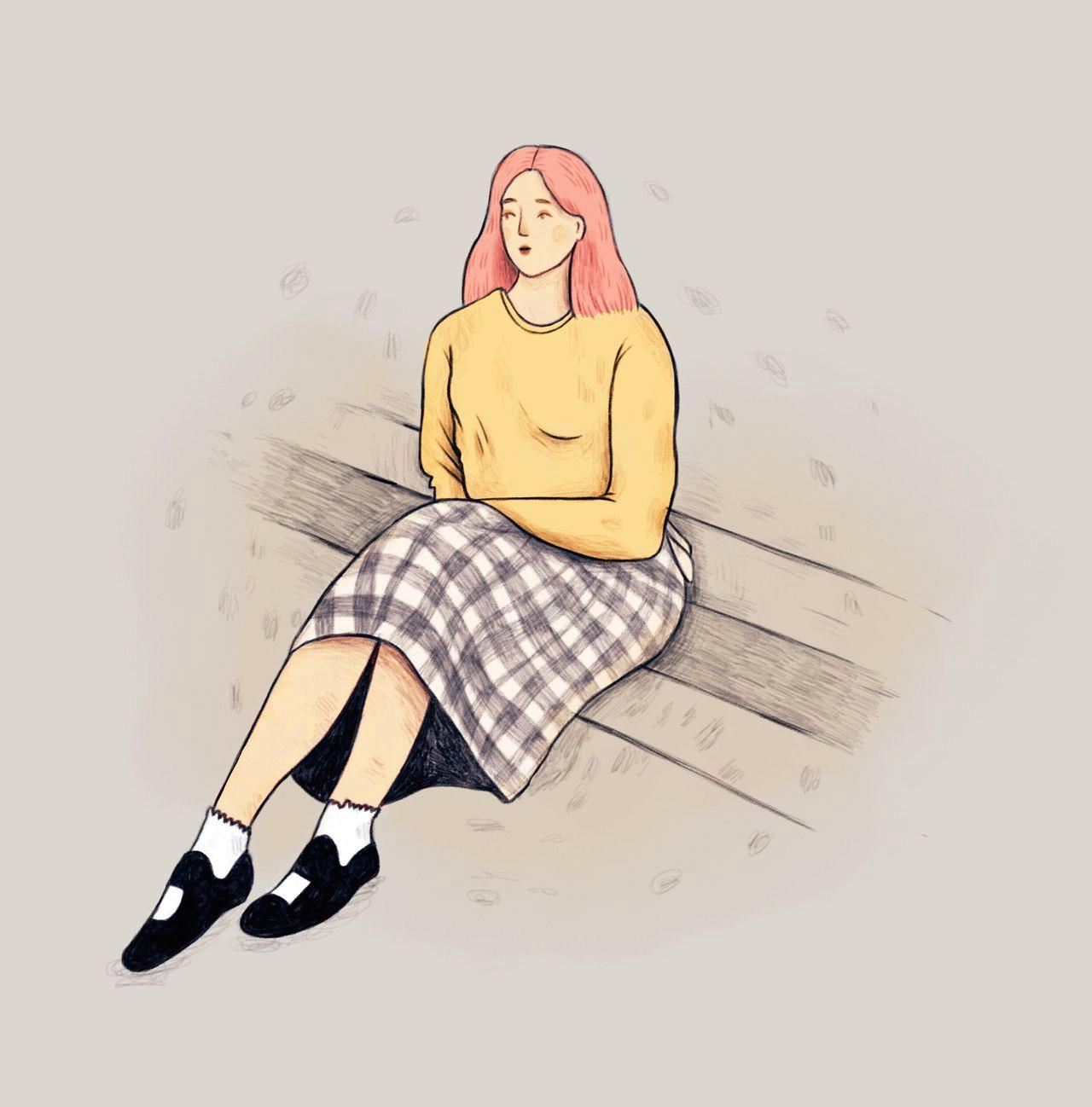 girl on the stair by illustrator emma martschinke illustration illustrator drawing girl woman skirt sweater draw sketch art artist