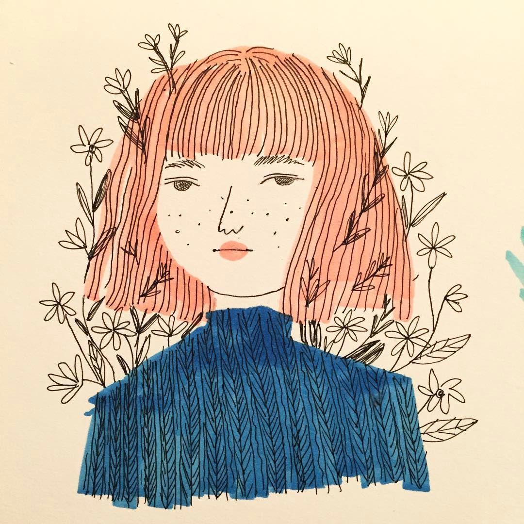 sweater copic drawing illustration ink girl myart