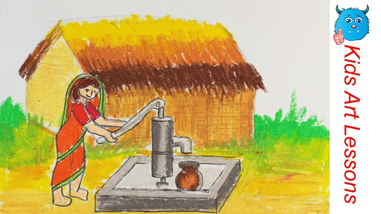 how to draw a village scenery of woman taking water from tube well easily step by step in pastel