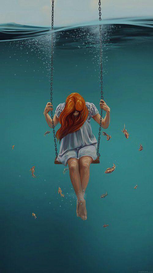 imagen de girl wallpaper and fish