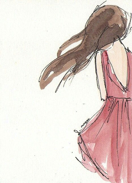 girl in the red dress water color