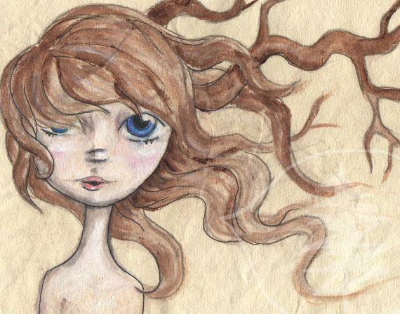 Drawing Of Girl In Water Water Girl Tree Girl by Rachael Treetalker Art Drawings