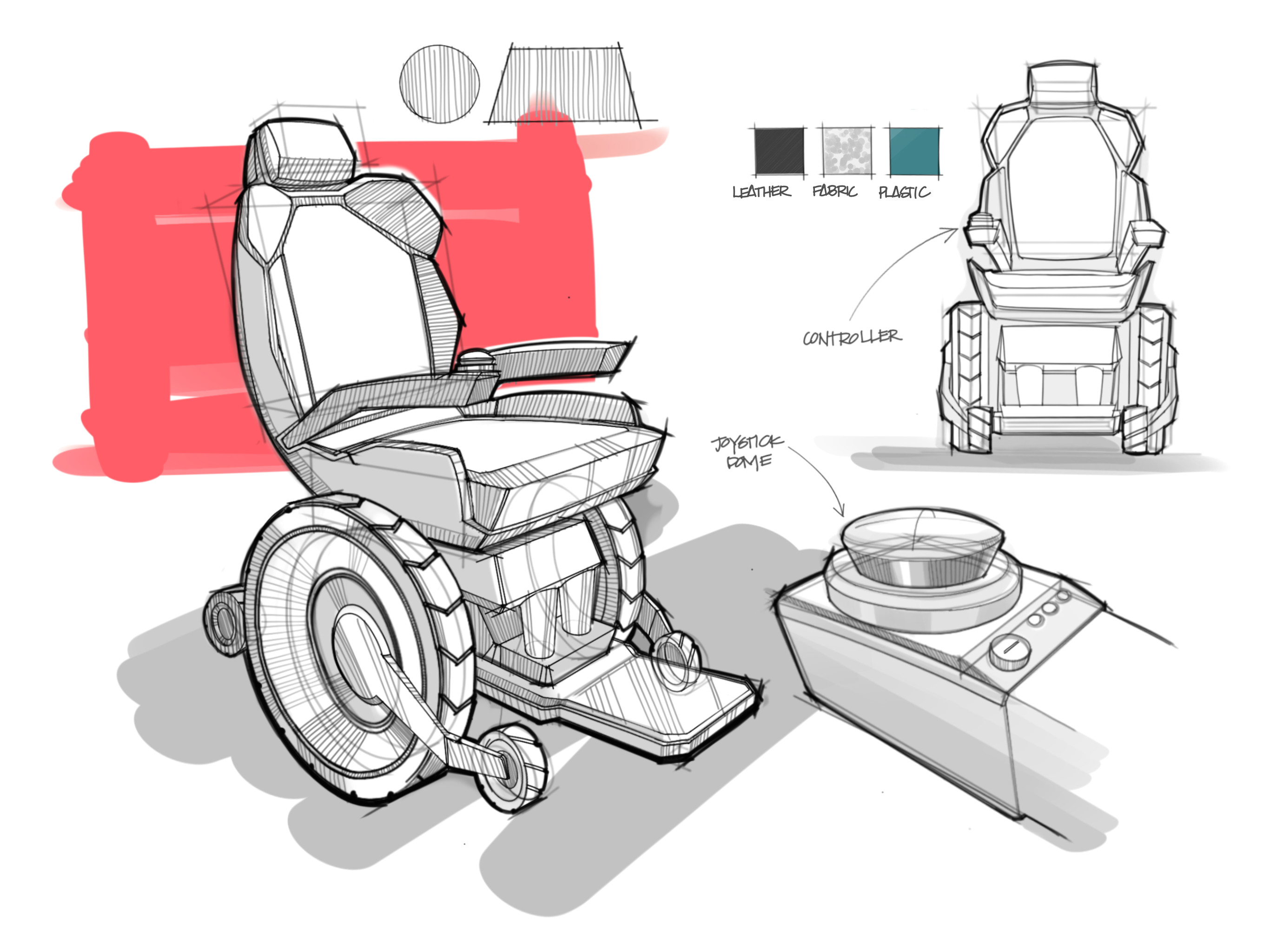 wheelchair sketch industrial design ipad pro procreate drawing render banks design