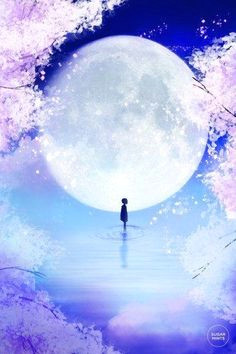 moon child art anime cherry blossom cherry blossoms im with you anime