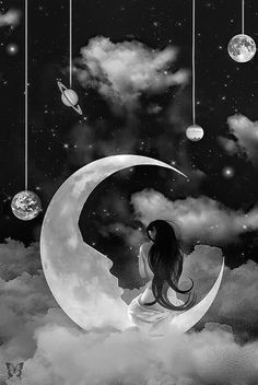back view of woman sitting on the moon hanging planets art moon art crow
