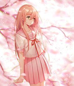 imagen anime con original niya tidsean long hair single tall image fringe green eyes pink hair yellow eyes looking away standing hair between eyes pleated