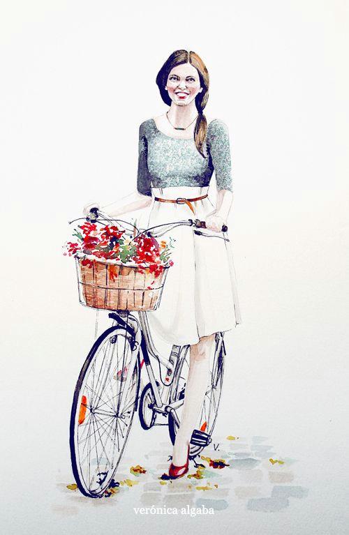 girl with bike by pajaros veronica algaba