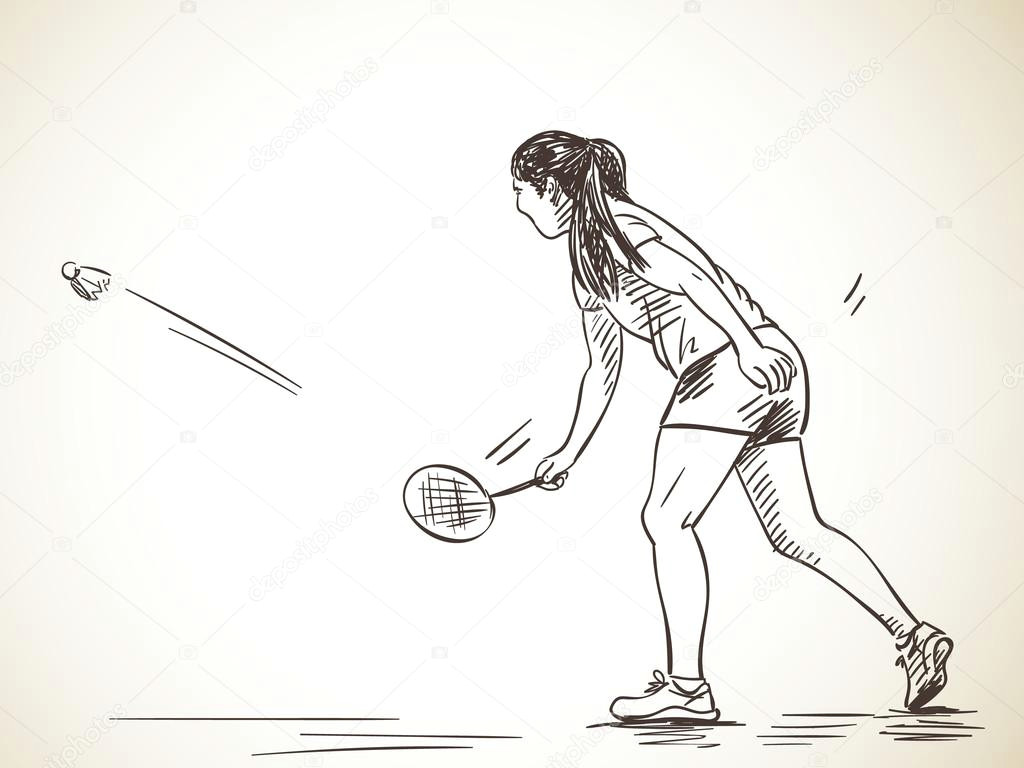 szkic kobiety graa w badmintona ilustracji wektorowych wektor od olgatropinina