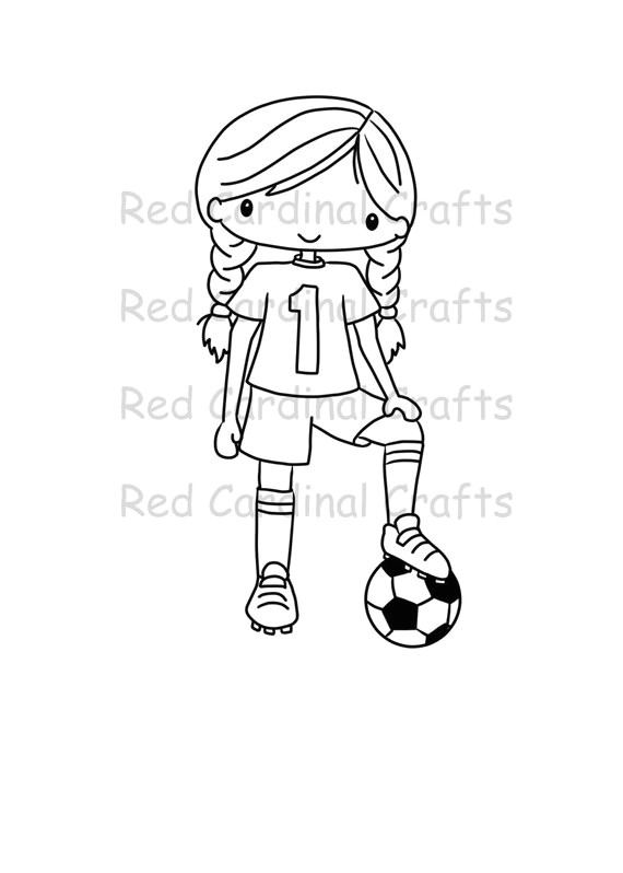 digital stamp soccer girl