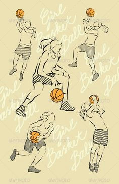 girl basket ball sketches graphicriver spontaneous drawing 4 girl basket ball players zip included