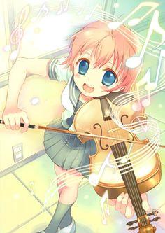 anime art a music violin musician playing