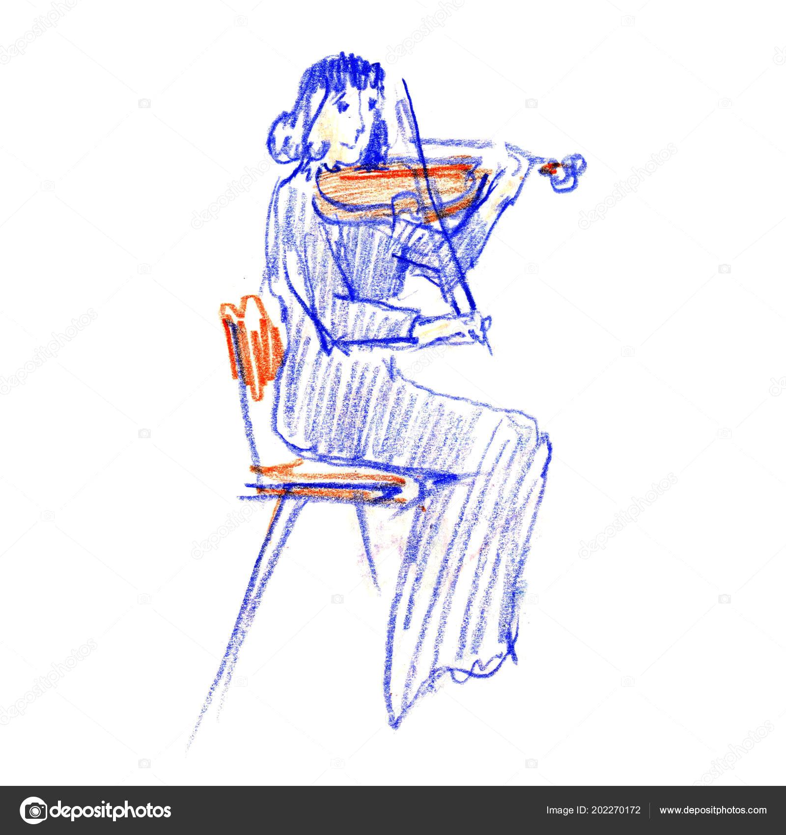 Drawing Of Girl Playing Violin Young Woman Playing Violin Line Sketch Drawing Hand Drawn