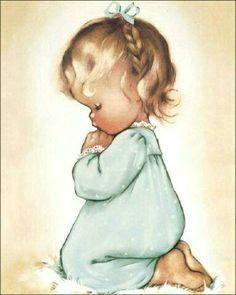 sweet charlot byj little girl praying print on fabric block choose or