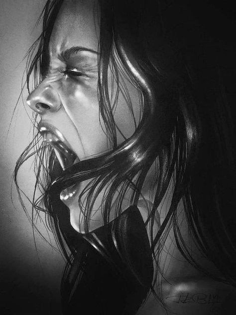 pencil portrait by rebecca blair screaming drawing screaming girl anger art anger drawing